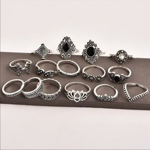 Jewelry - NEW Boho Silver and Onyx 15 Piece Ring Set